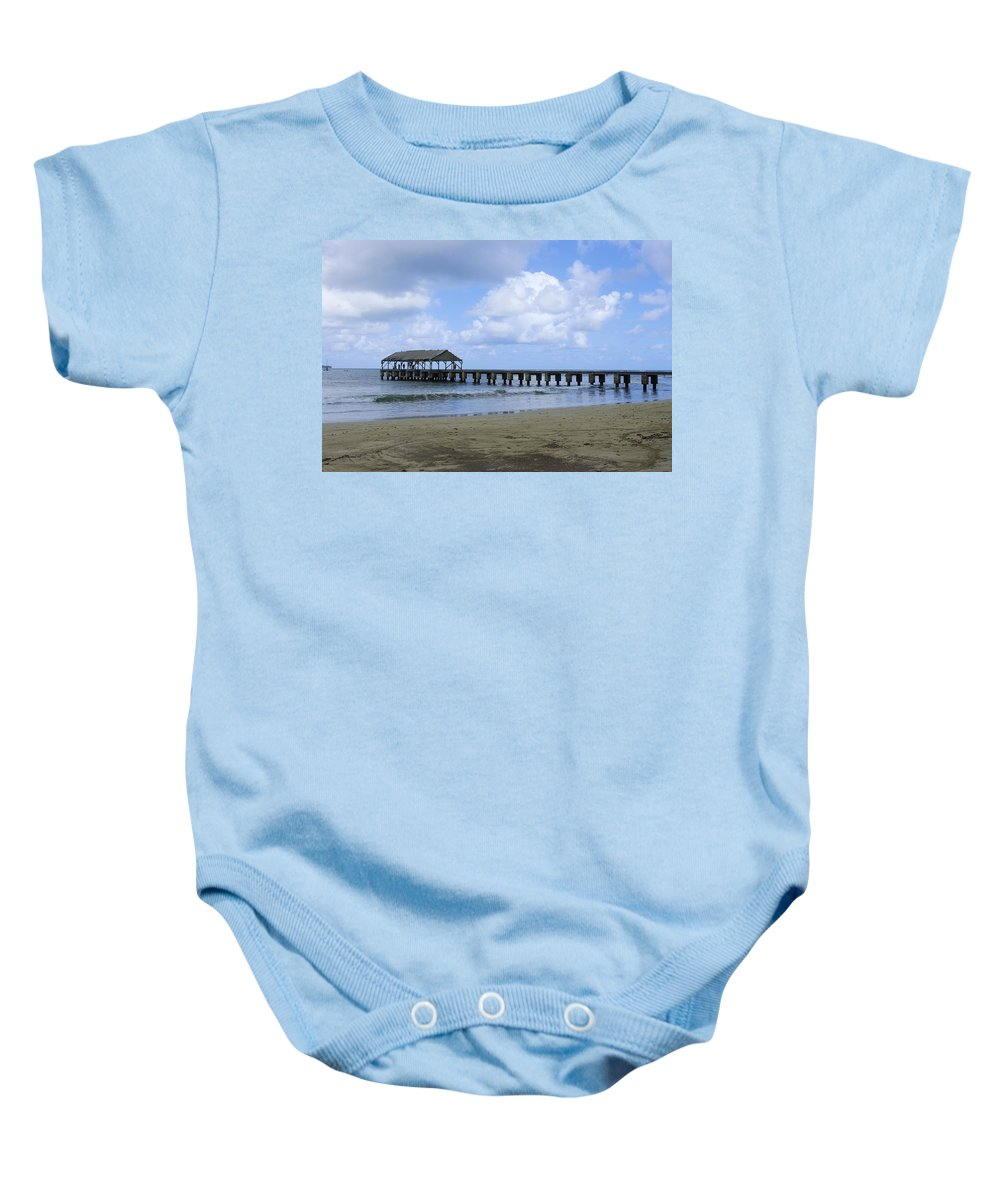 Hanalei Bay Photographs Baby Onesie featuring the photograph The Pier At Hanalei by John Greaves