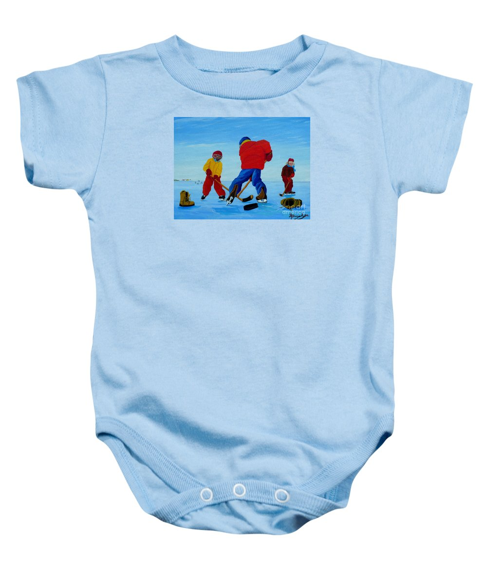 Winter Baby Onesie featuring the painting The Pond Hockey Game by Anthony Dunphy