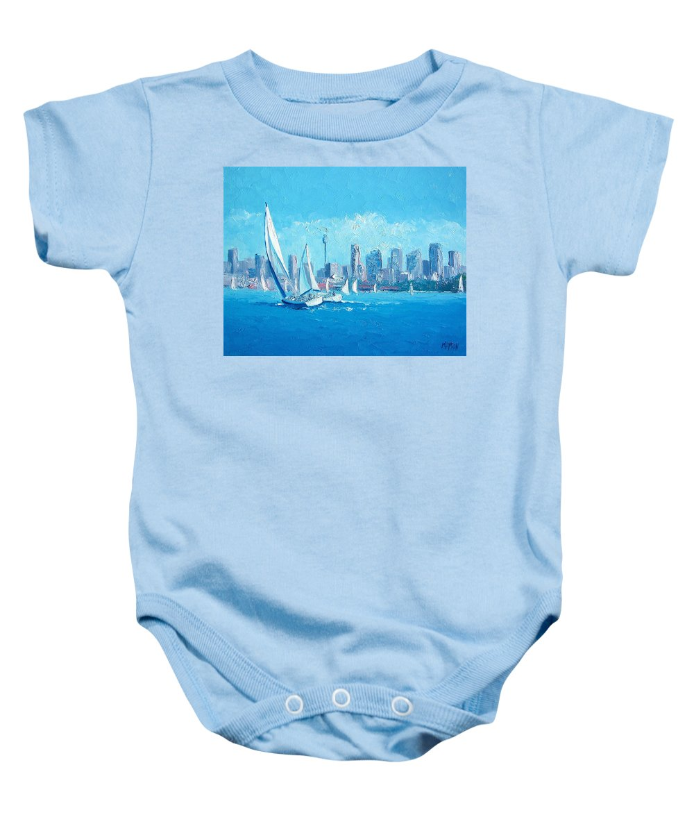 Sydney Harbour Baby Onesie featuring the painting The Regatta Sydney Habour By Jan Matson by Jan Matson