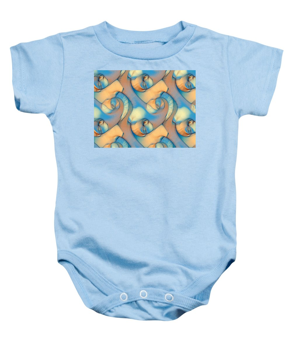 Abstract Baby Onesie featuring the digital art The Sea And The Sand Abstract by Georgiana Romanovna