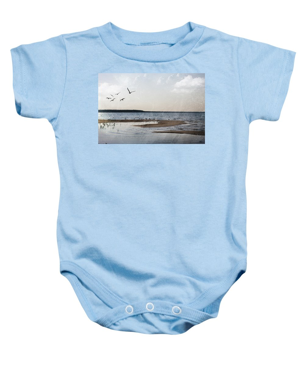 Evie Baby Onesie featuring the photograph The Shallows At Whitefish Bay by Evie Carrier