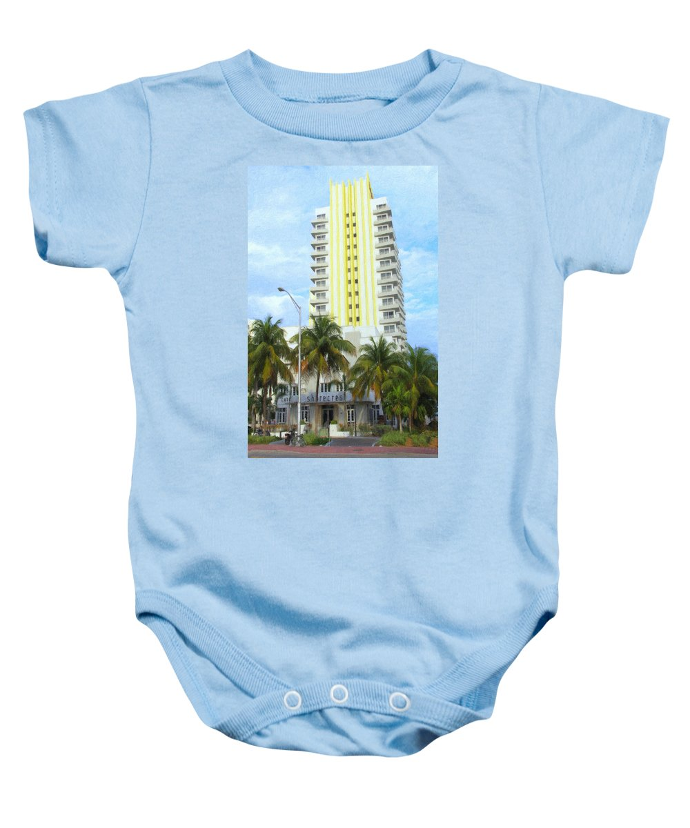 Art Deco Baby Onesie featuring the photograph The Shorecrest by Tom Reynen
