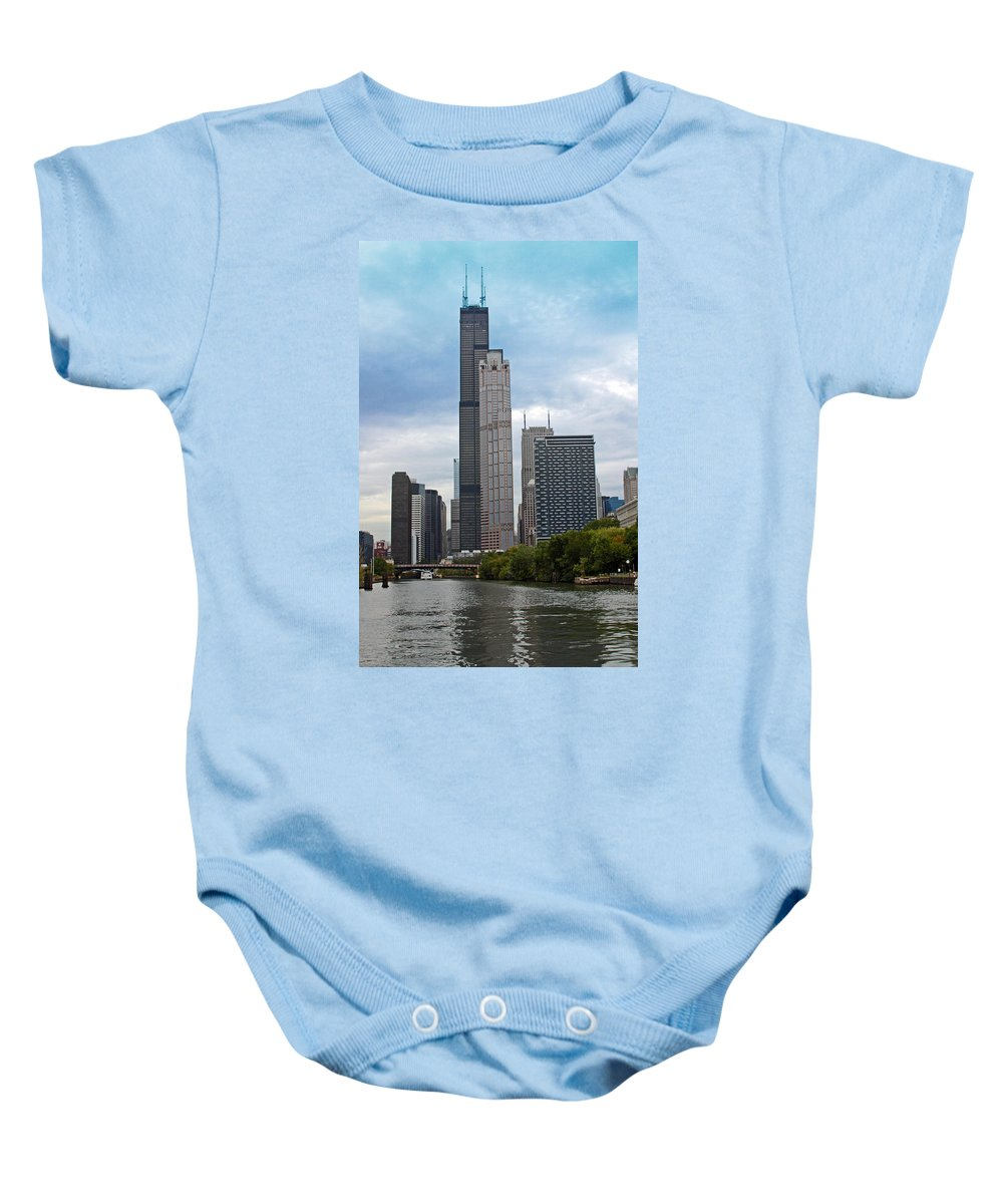 Sears Baby Onesie featuring the photograph The Tall Buildings by Carolyn Stagger Cokley