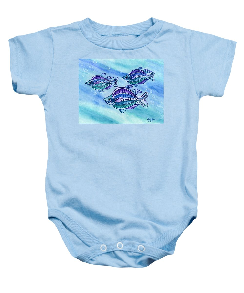 Fish Baby Onesie featuring the painting The Turquoise Rainbow Fish by Lori Ziemba