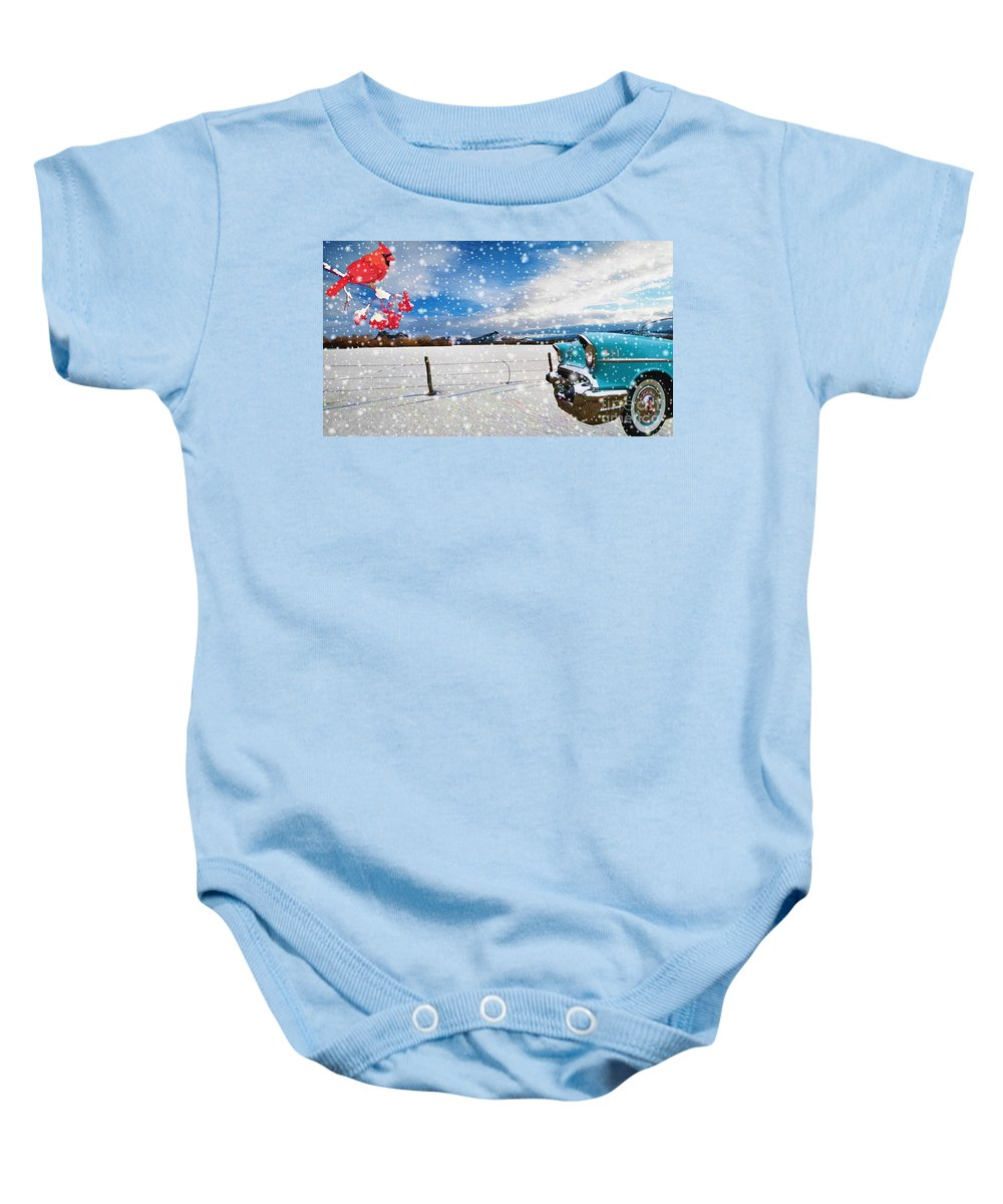 Automobile Baby Onesie featuring the digital art The Unwilling Winter by Liane Wright