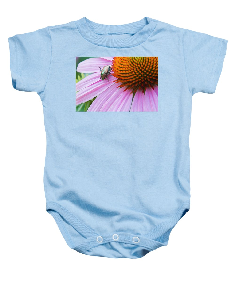Fly Baby Onesie featuring the photograph The Visitor by Lindley Johnson