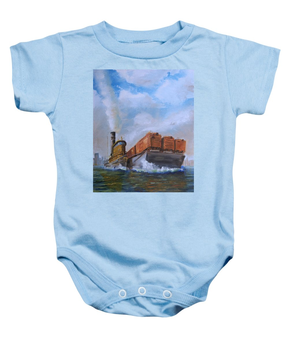 Tug Baby Onesie featuring the painting The Vital Link by Christopher Jenkins