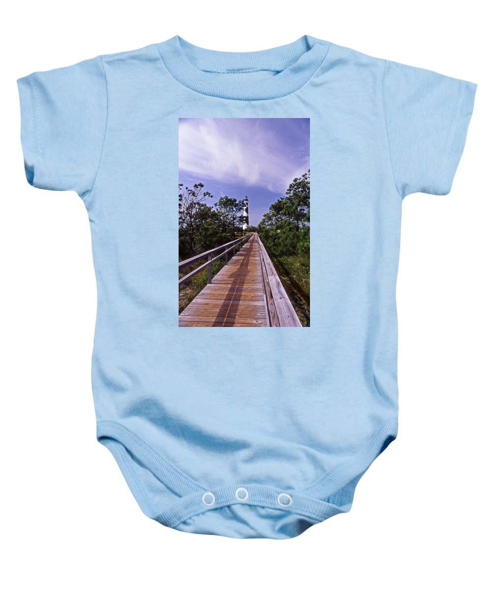 Cape Lookout Baby Onesie featuring the photograph The Walk To Cape Lookout by Skip Willits