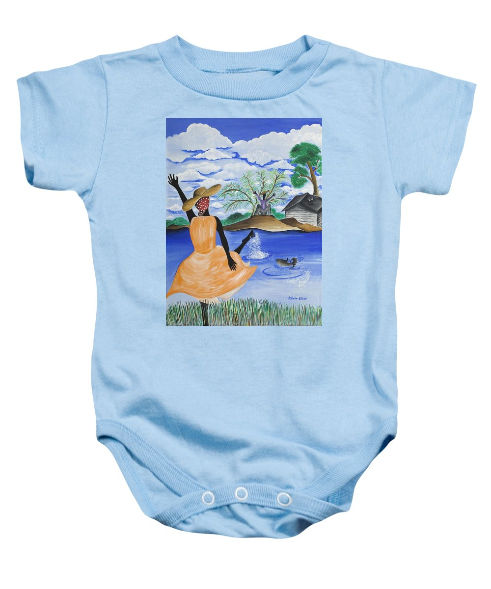 Gullah Art Baby Onesie featuring the painting The Welcome River by Patricia Sabree