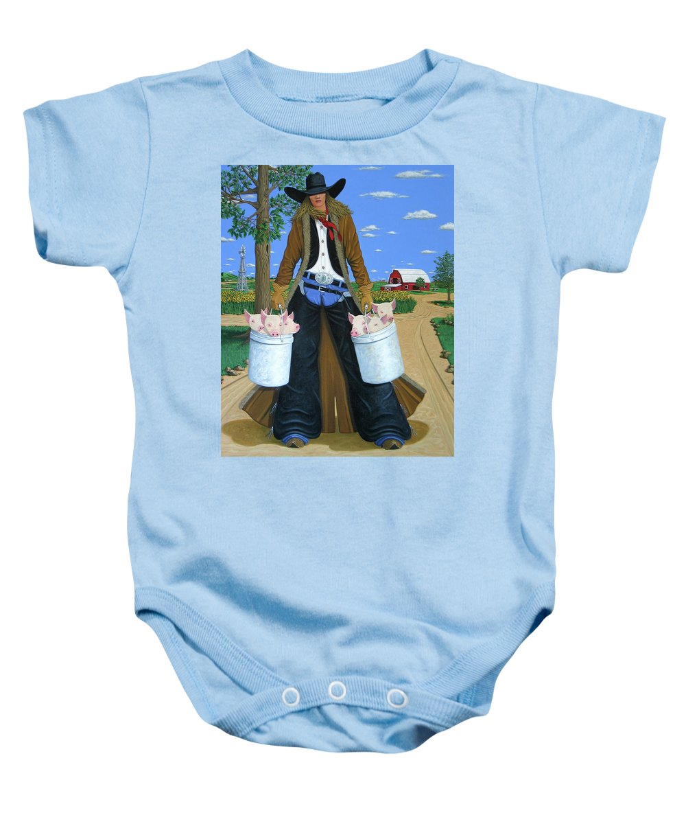 Little Piglets Baby Onesie featuring the painting Tickled Pink by Lance Headlee