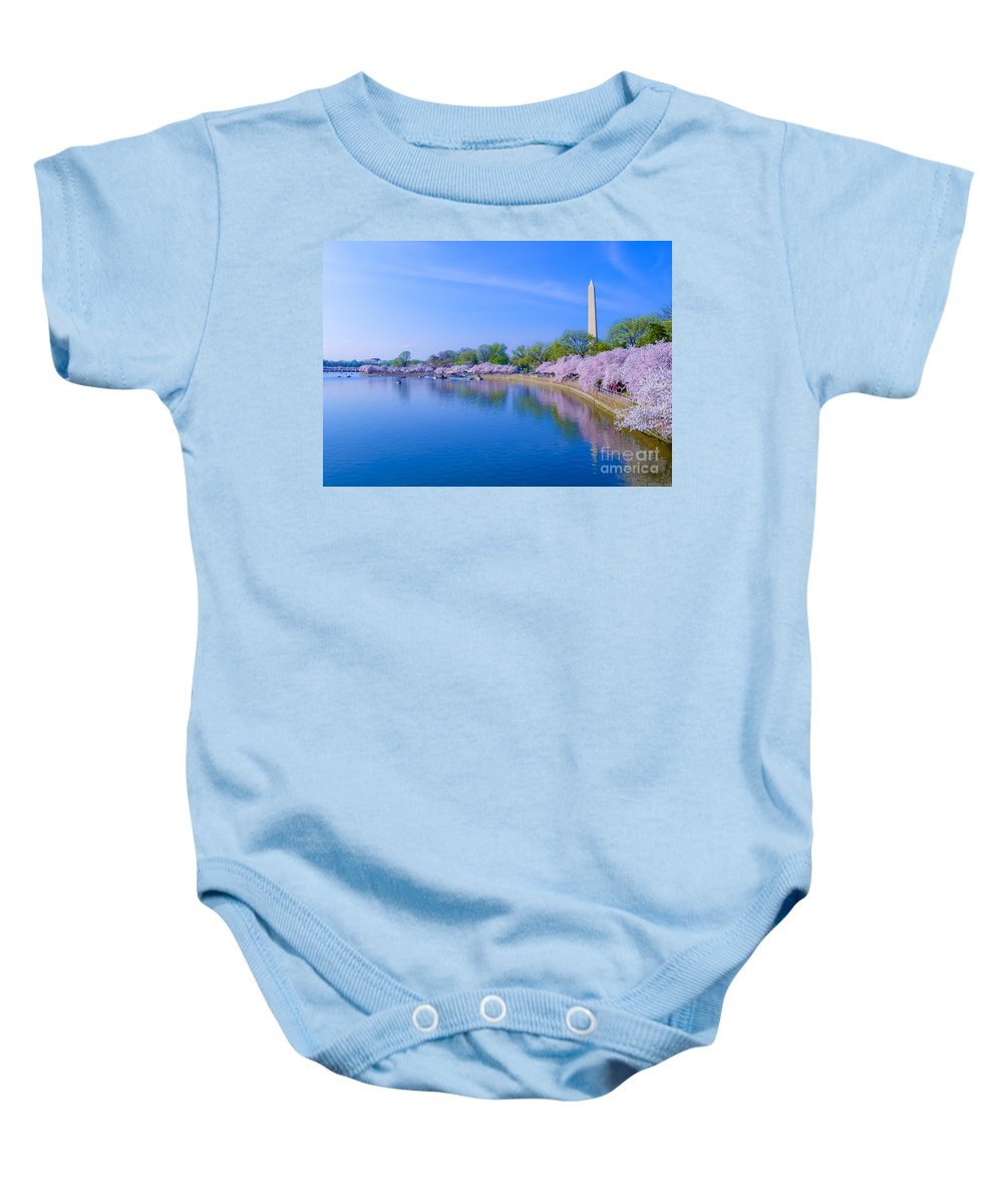 2012 Centennial Celebration Baby Onesie featuring the photograph Tidal Basin And Washington Monument With Cherry Blossoms by Jeff at JSJ Photography
