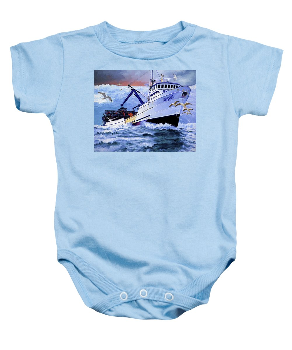 Alaskan King Crabber Baby Onesie featuring the painting Time To Go Home by David Wagner