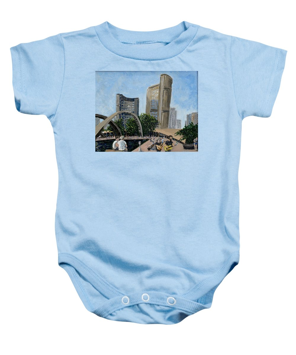 Toronto Baby Onesie featuring the painting Toronto City Hall by Ian MacDonald