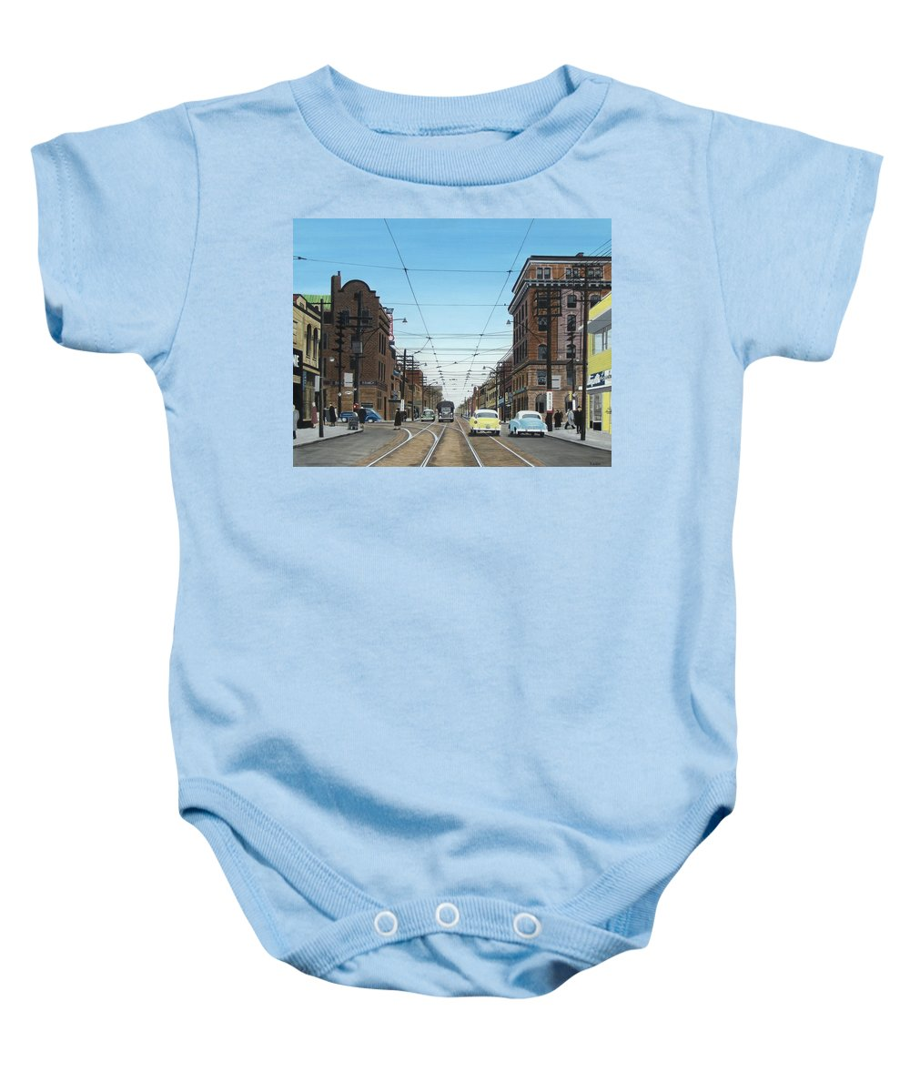 Streetscapes Baby Onesie featuring the painting Toronto Yonge And Bloor 1954 by Kenneth M Kirsch