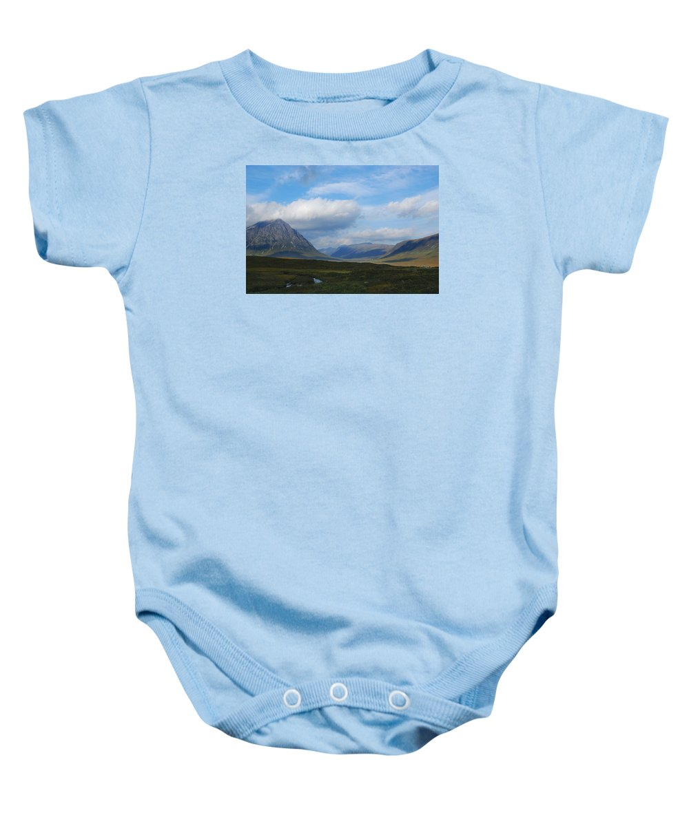 Scotland Baby Onesie featuring the photograph Touching Clouds by Wendy Wilton