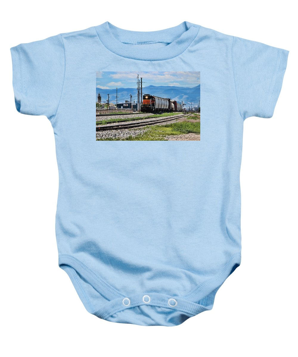 Colorado Baby Onesie featuring the photograph Train In The Mile High by Becca Buecher
