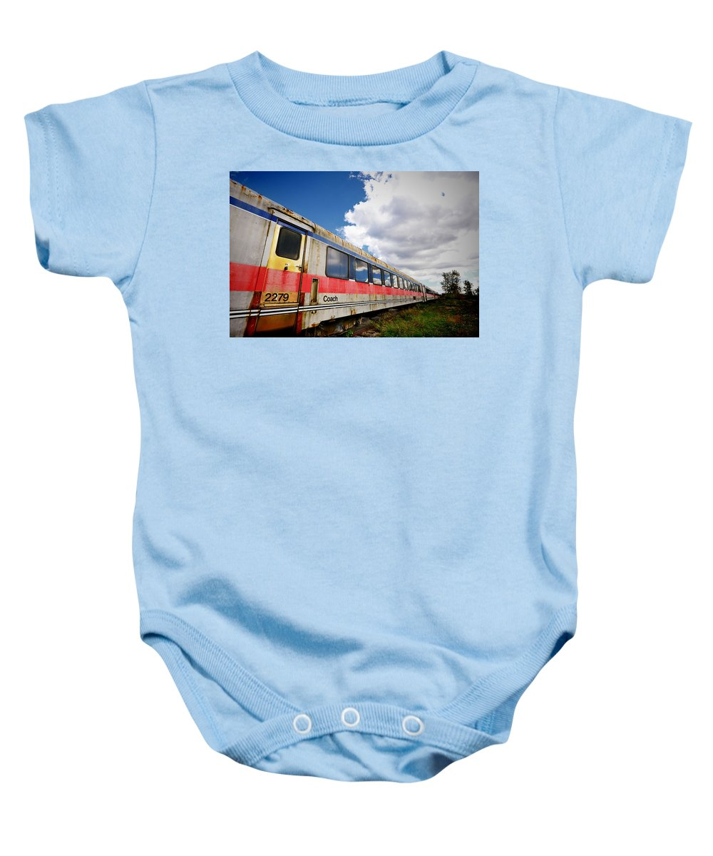 Railroad Baby Onesie featuring the photograph Train To Nowhere by Ray Summers Photography