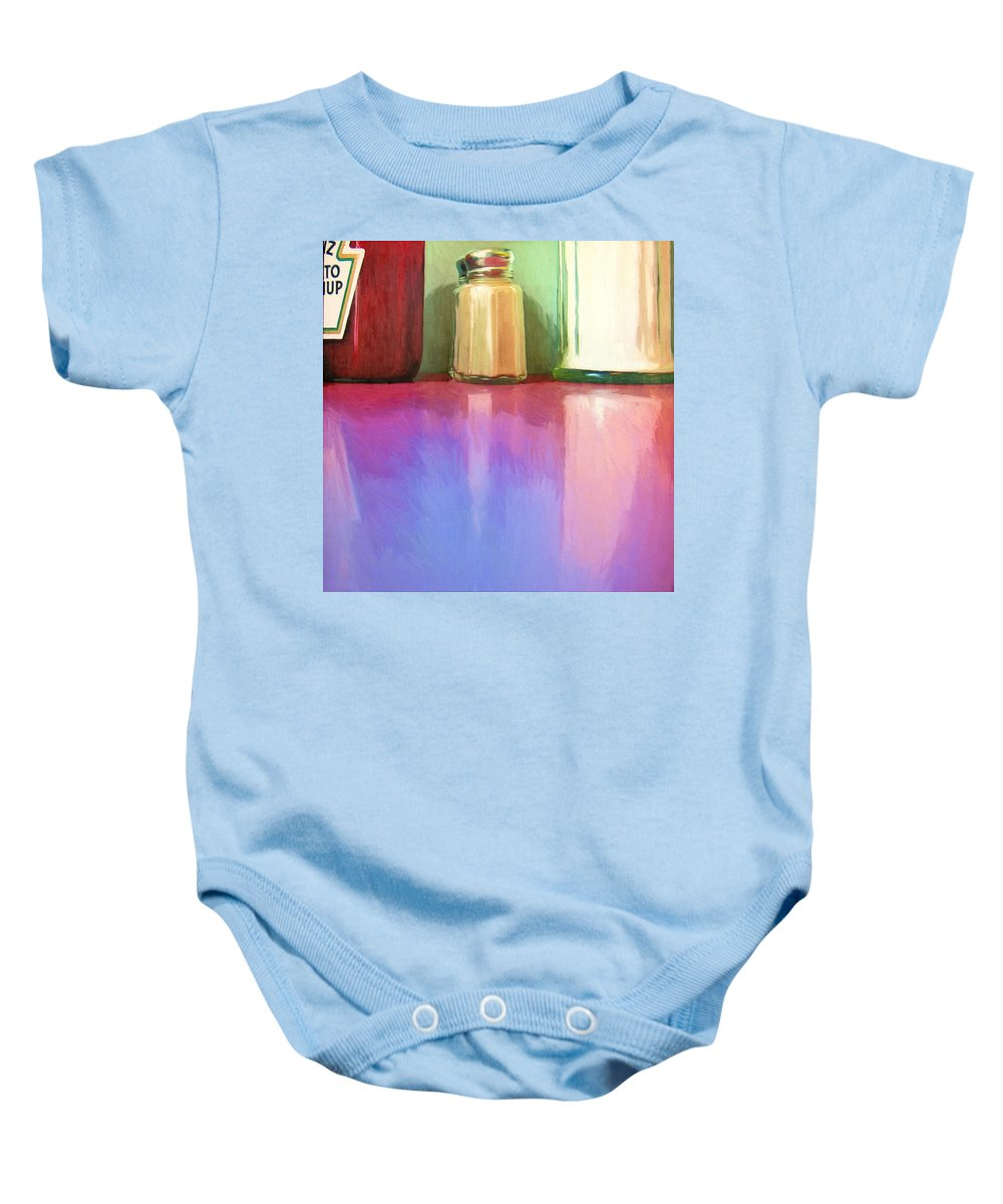 Truckstop Baby Onesie featuring the painting Truckstop by Dominic Piperata