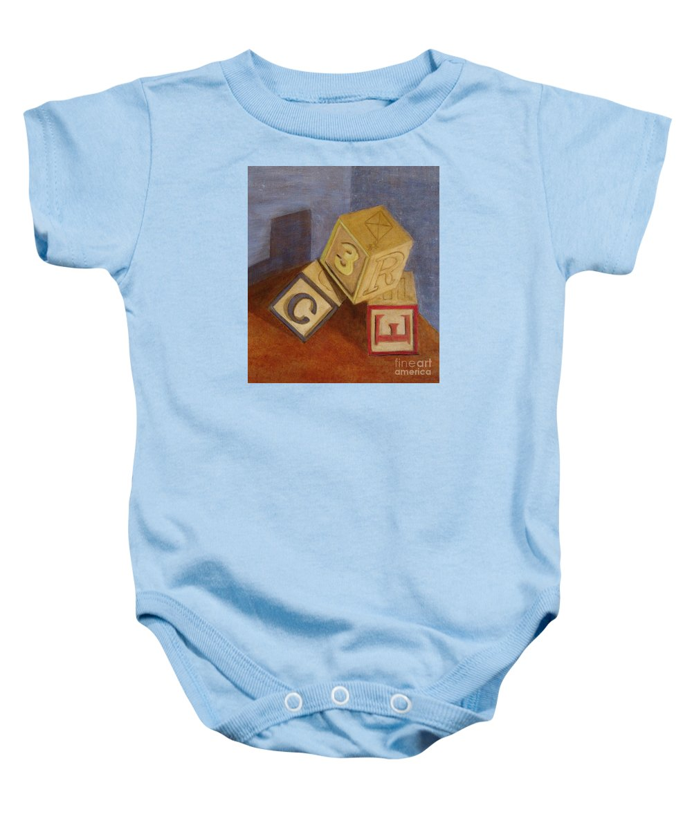 Blocks Baby Onesie featuring the painting Tumblin' by Marilyn Healey