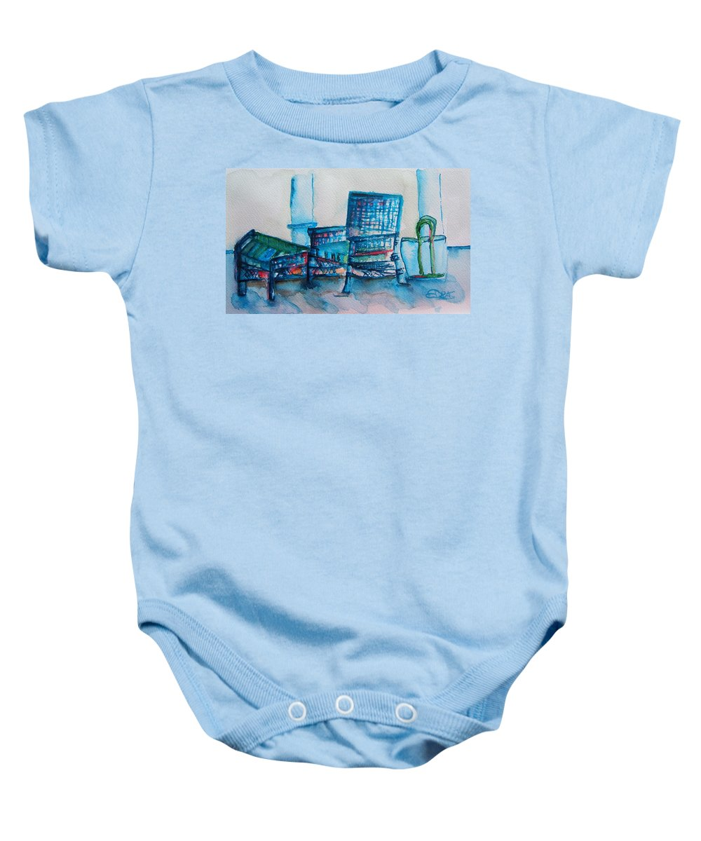Wicker Baby Onesie featuring the painting Turquoise Check In by Elaine Duras