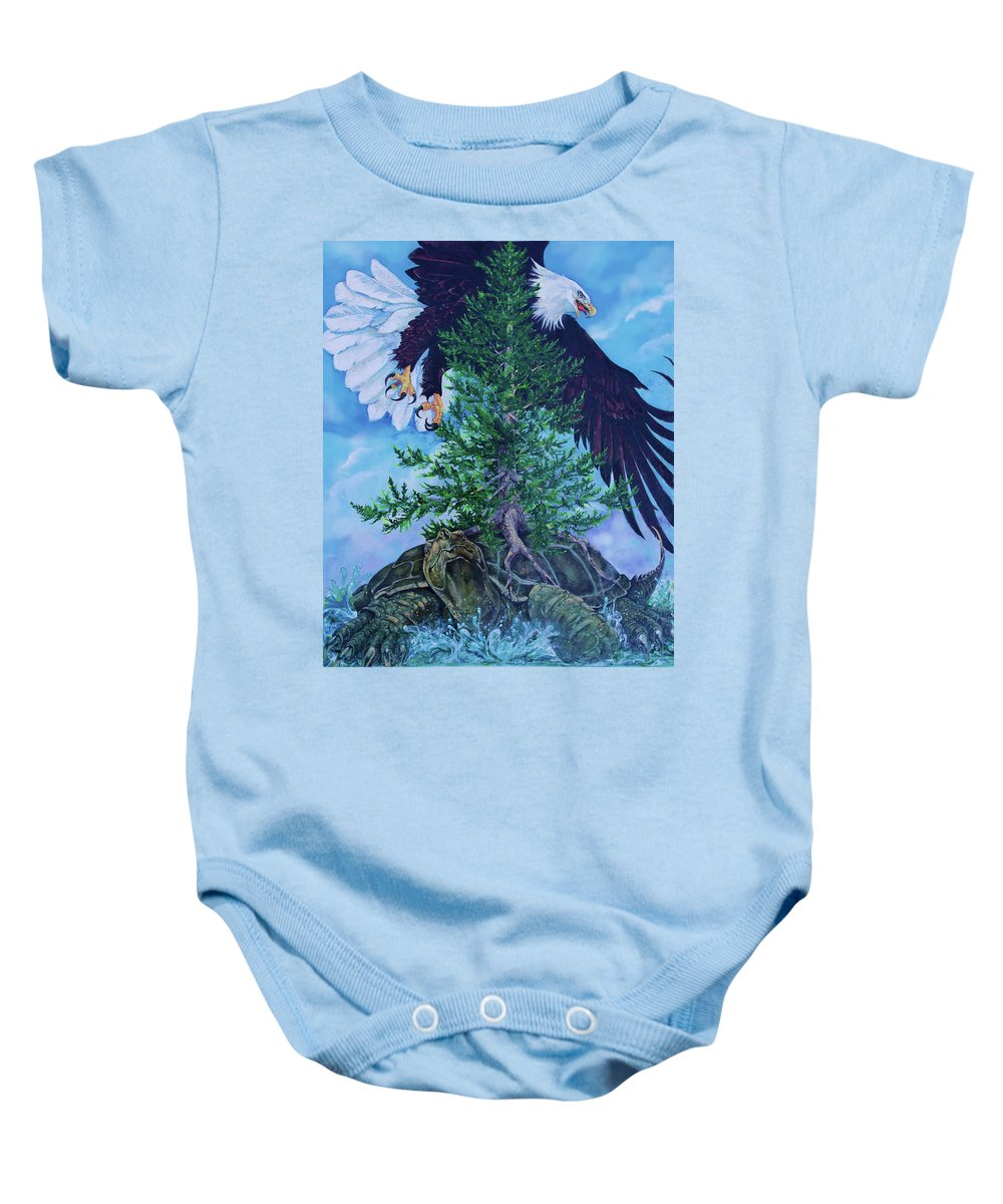 Nature Baby Onesie featuring the painting Turtle Island by Derrick Higgins