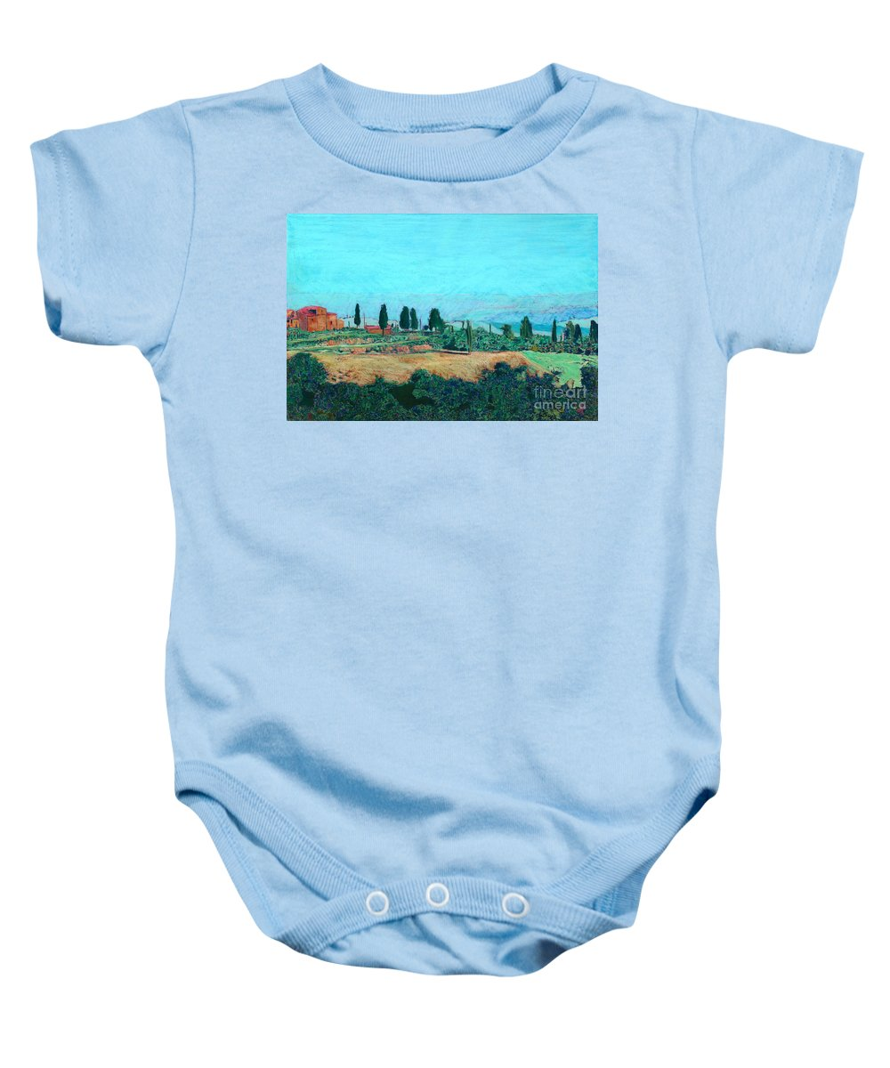 Landscape Baby Onesie featuring the painting Tuscan Farm by Allan P Friedlander