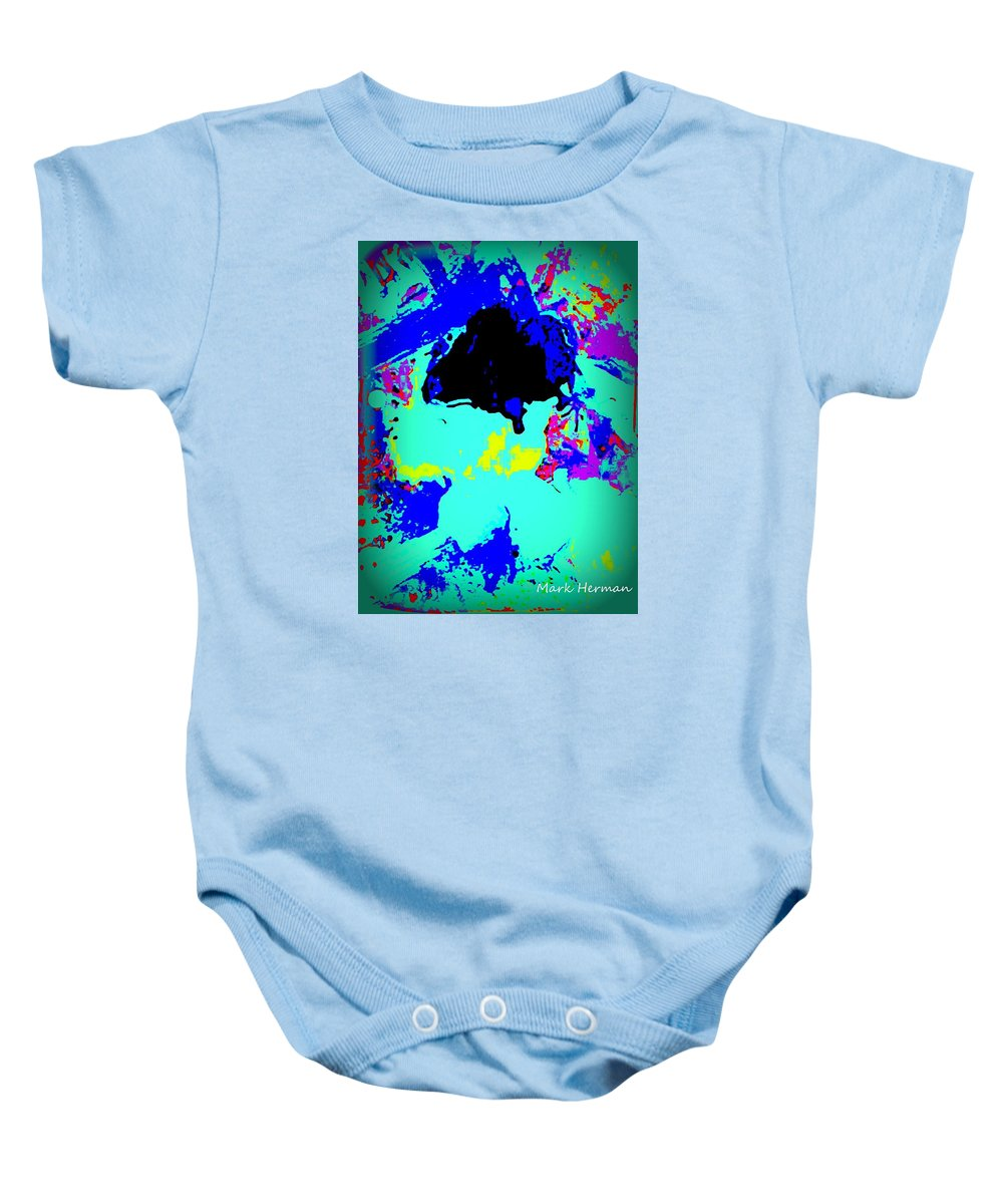 Framed Abstract Baby Onesie featuring the painting Twang by Mark Herman