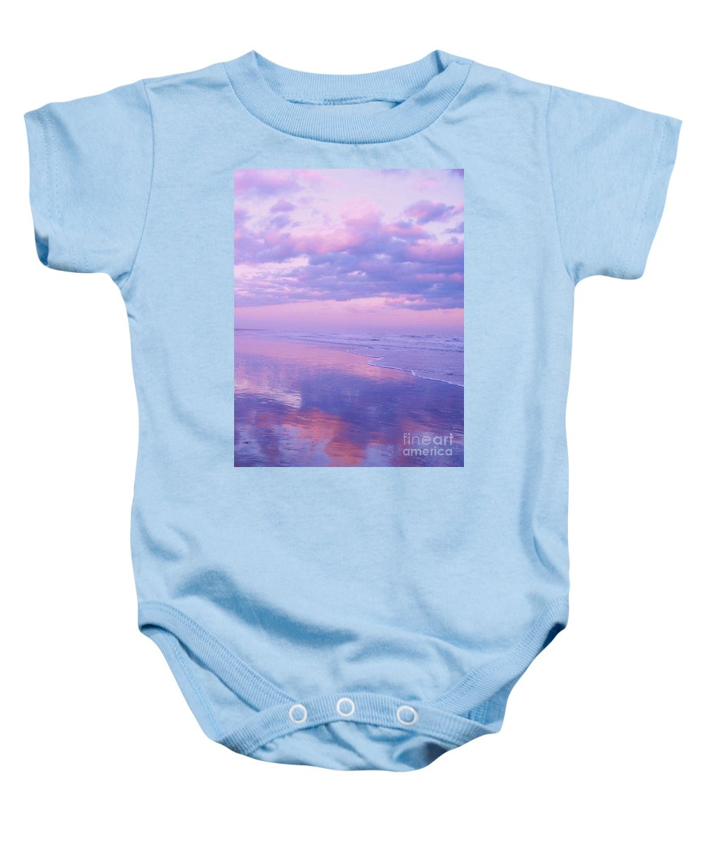 Twilight Baby Onesie featuring the photograph Twilight Reflection Cape May by Eric Schiabor