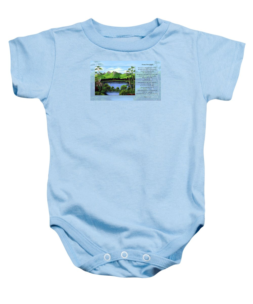 Twenty Third Psalm Baby Onesie featuring the painting Twin Ponds And 23 Psalm On Blue Horizontal by Barbara Griffin