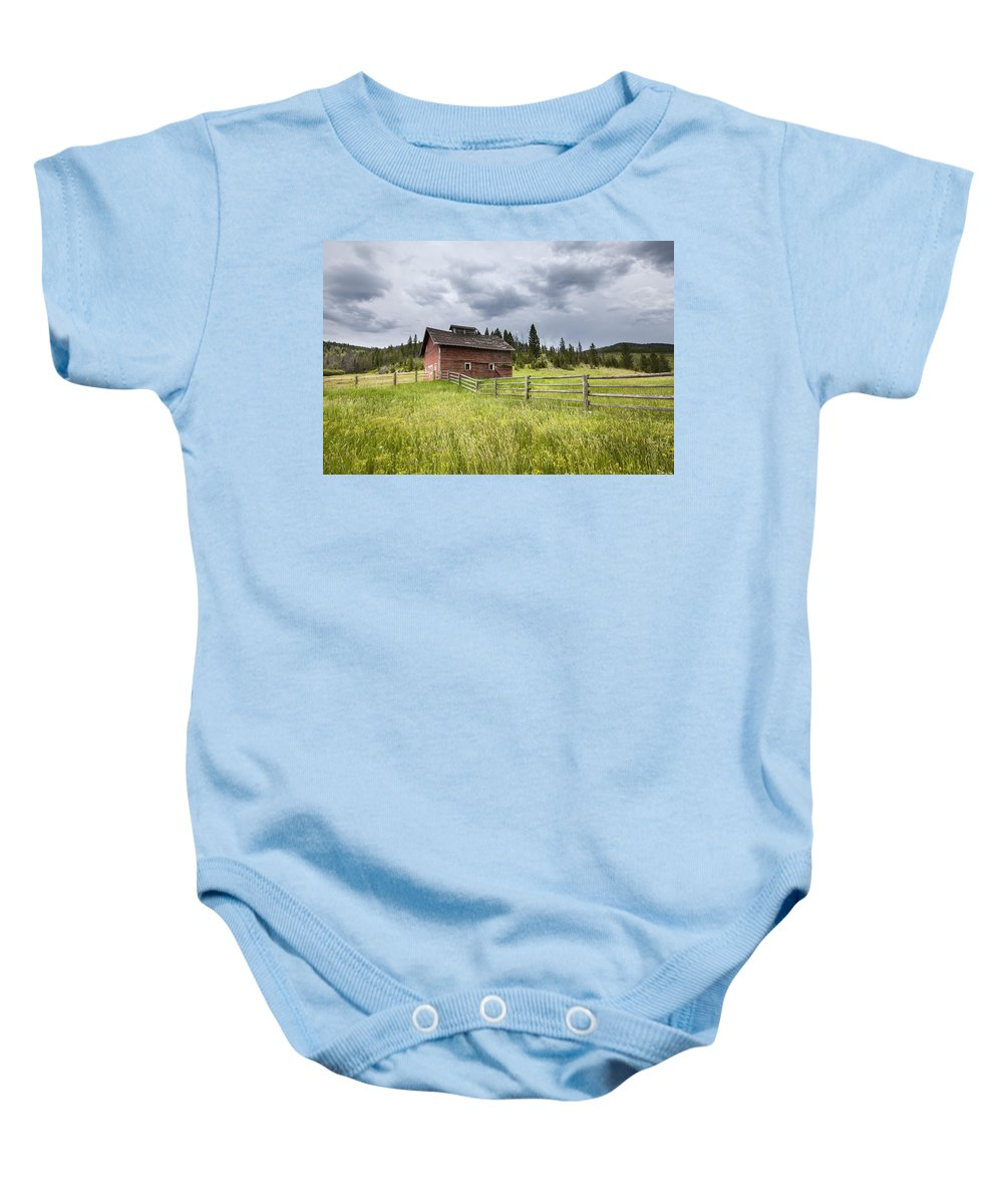 Barn Baby Onesie featuring the photograph Two Window Barn by Fran Riley