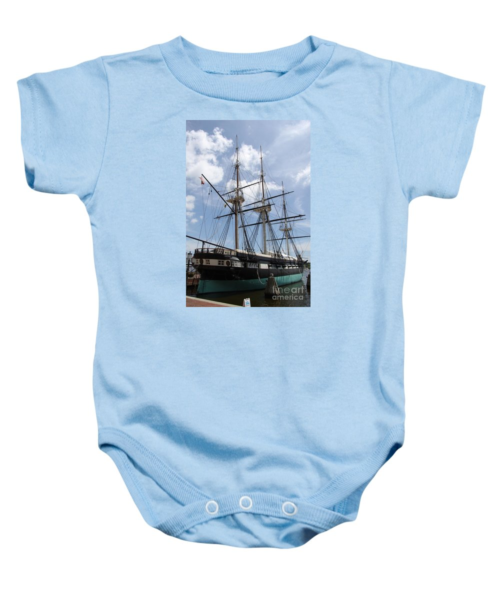 All Sail War Ship Baby Onesie featuring the photograph U S S Constellation by Christiane Schulze Art And Photography