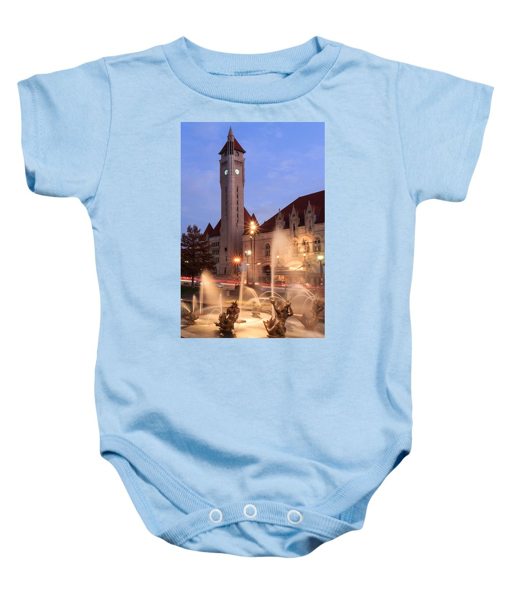 St. Louis Baby Onesie featuring the photograph Union Station In Twilight by Scott Rackers