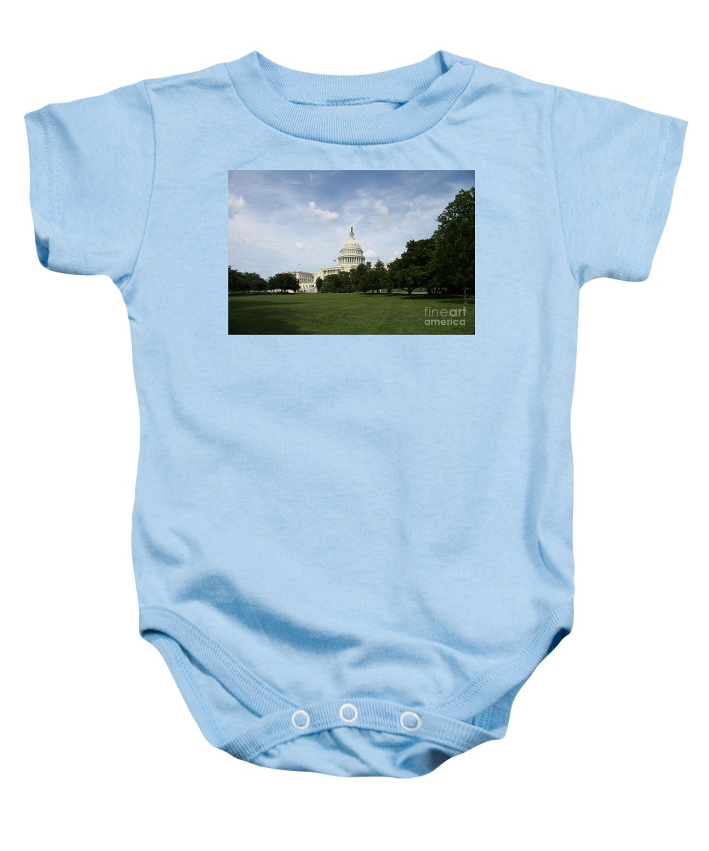 Capitol Baby Onesie featuring the photograph United State Capitol Washington Dc by Christiane Schulze Art And Photography