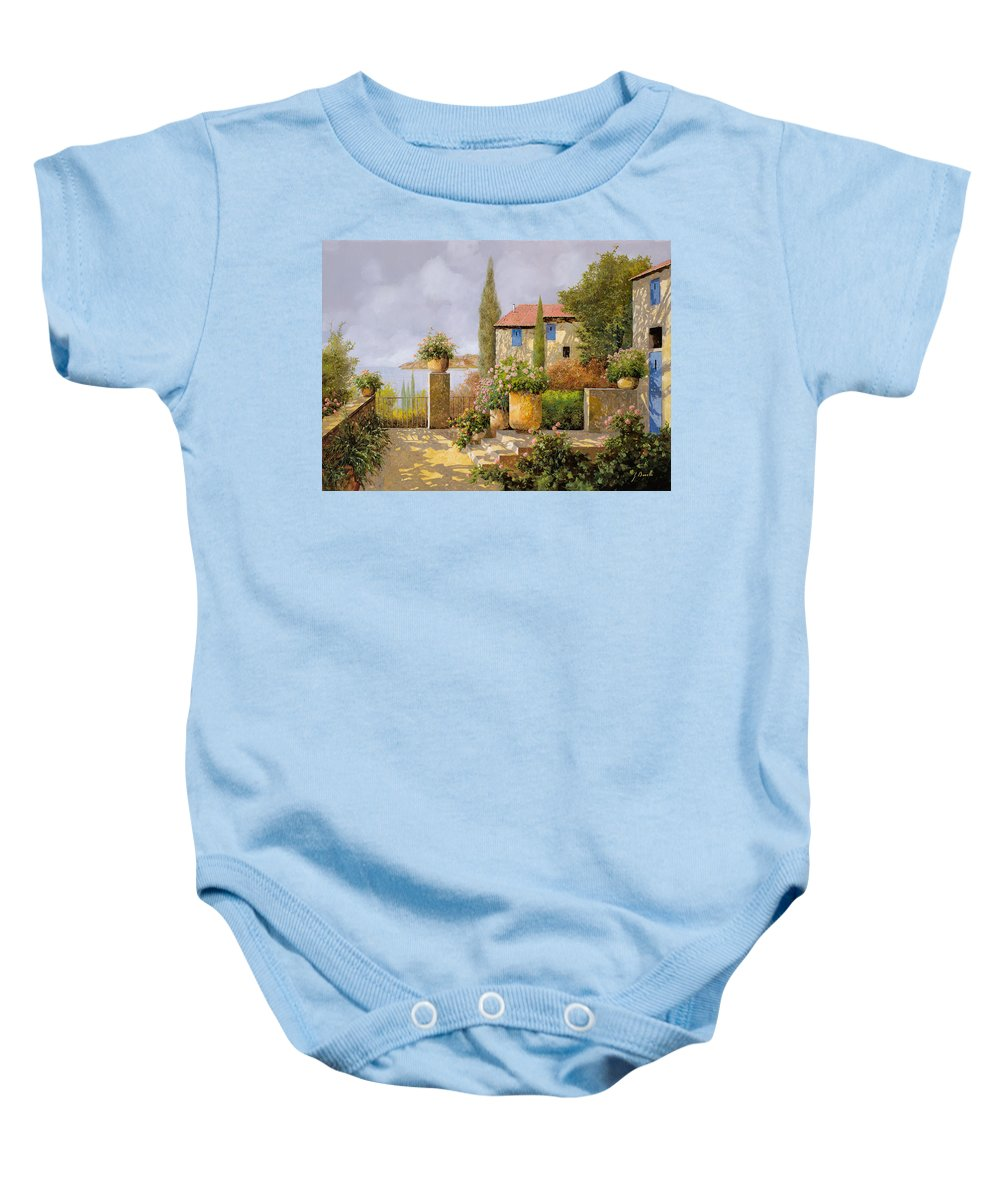 Terrace Baby Onesie featuring the painting Uno Sguardo Sul Mare by Guido Borelli