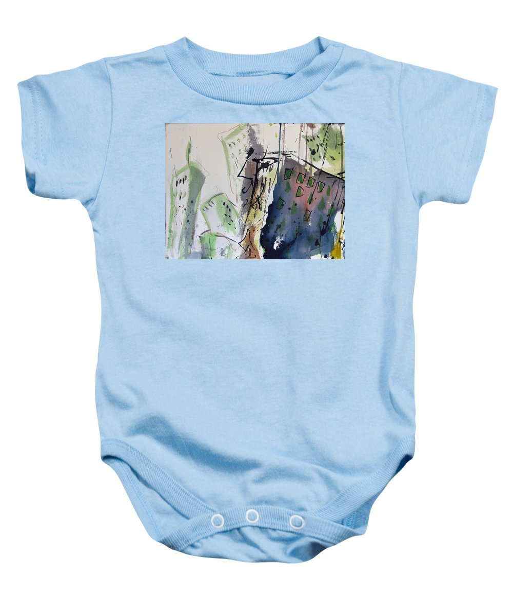 City Baby Onesie featuring the painting Uptown by Robert Joyner