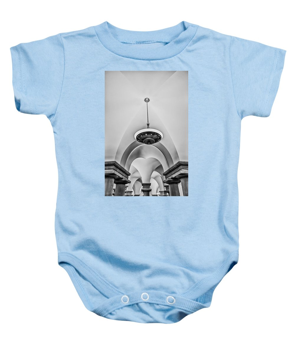 B&w Baby Onesie featuring the photograph Us Capitol Crypt by Susan Candelario