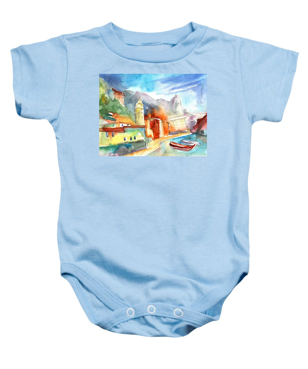 Italy Baby Onesie featuring the painting Vernazza In Italy 07 by Miki De Goodaboom