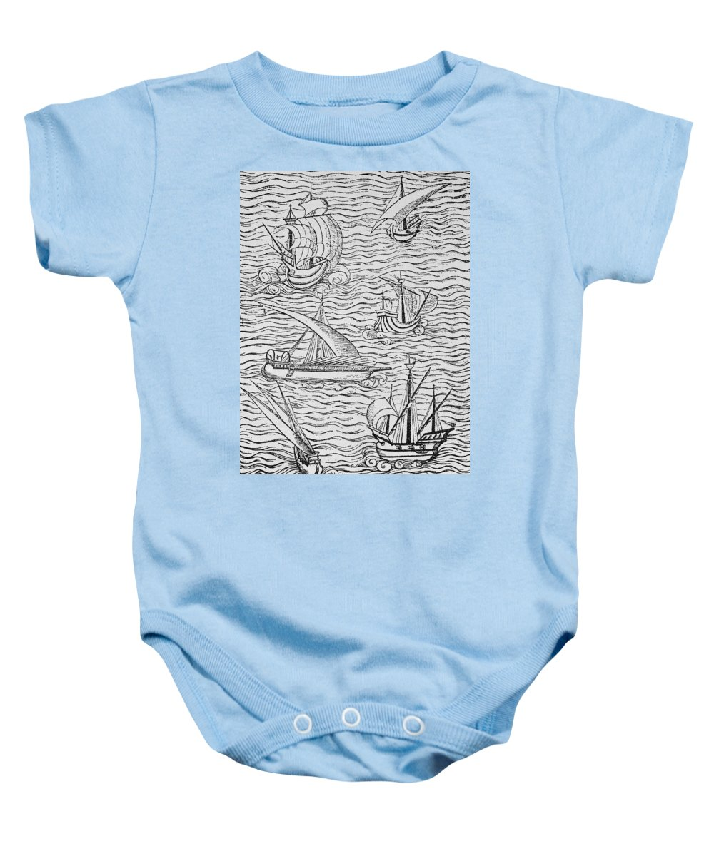 Spanish; Ship; Vessel; Boat; Galleon; Fleet Baby Onesie featuring the painting Vessels Of Early Spanish Navigators From The Narrative And Critical History Of American by English School