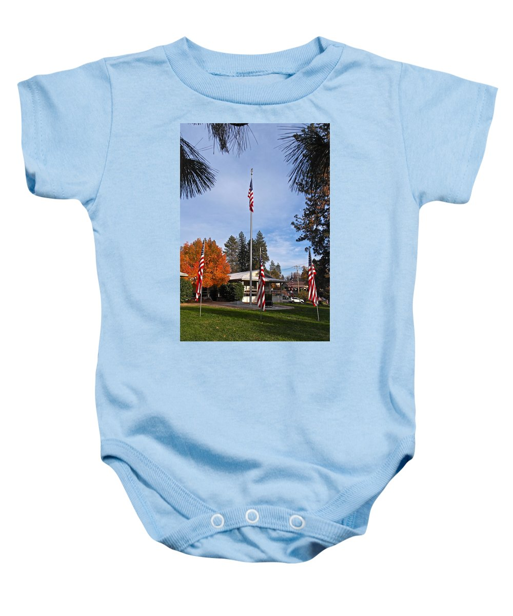 American Flag Baby Onesie featuring the photograph Vfw Hall Veterans Day by Michele Myers