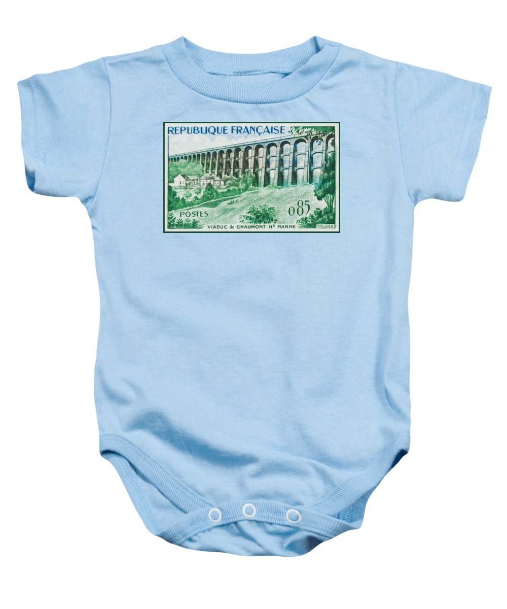 Heritage Baby Onesie featuring the painting Viaduct Chaumont Haute-marne by Jeelan Clark