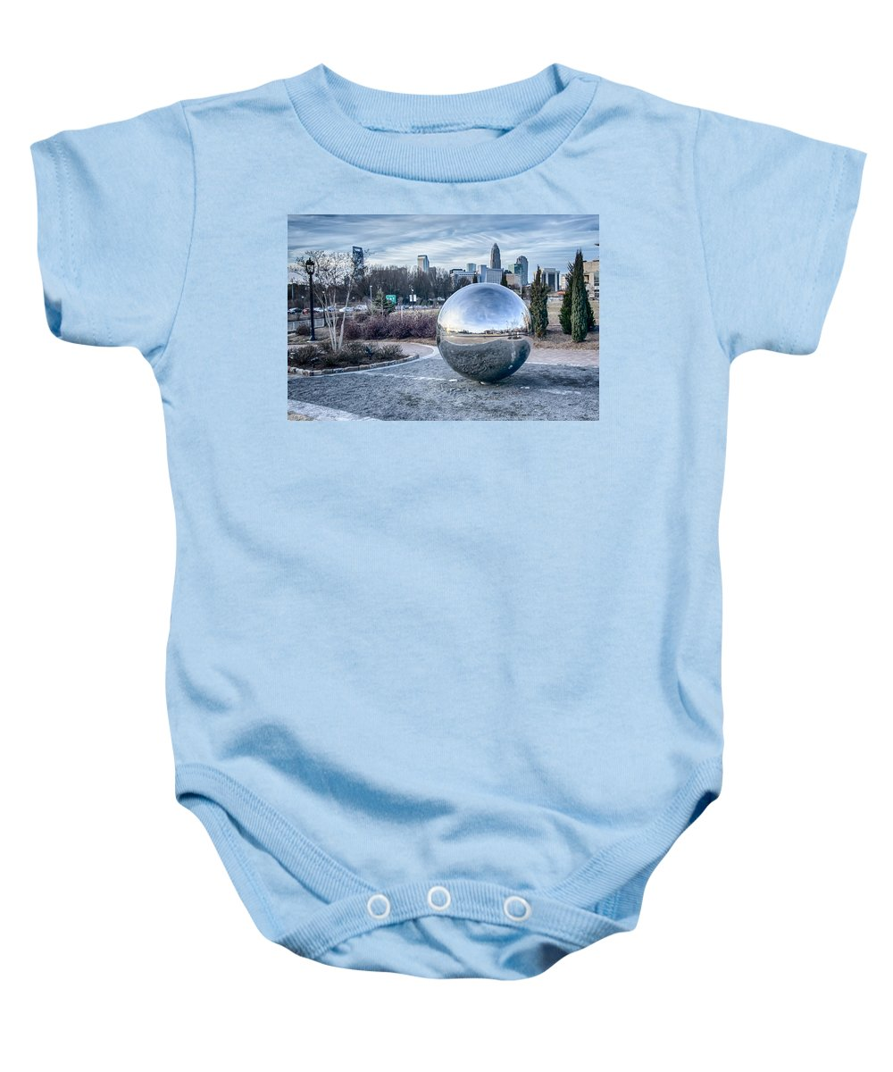 View Of Baby Onesie featuring the photograph View Of Charlotte Nc Skyline From Midtown Park by Alex Grichenko