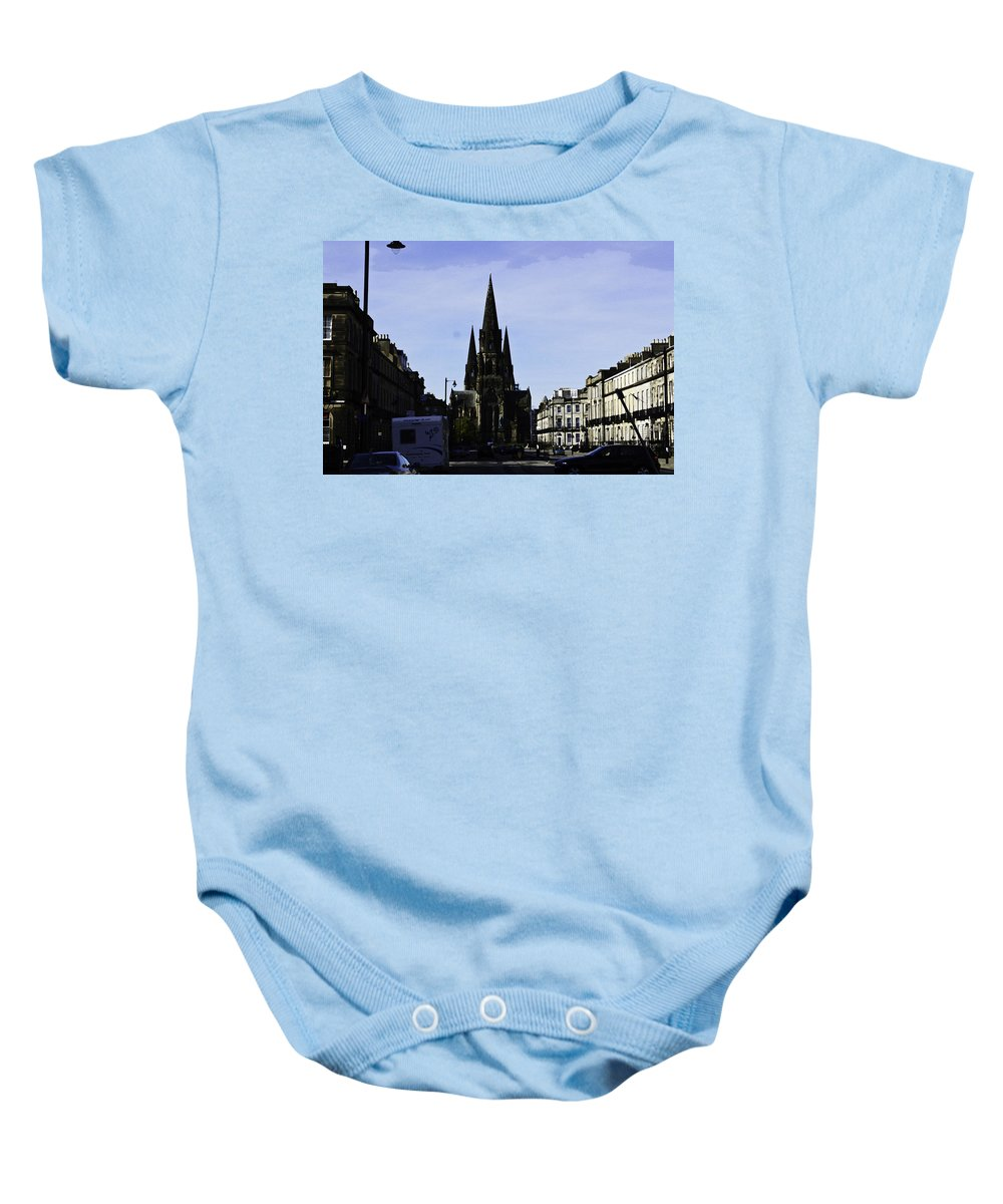 Action Baby Onesie featuring the digital art View Of Episcopal Cathedral In Edinburgh by Ashish Agarwal