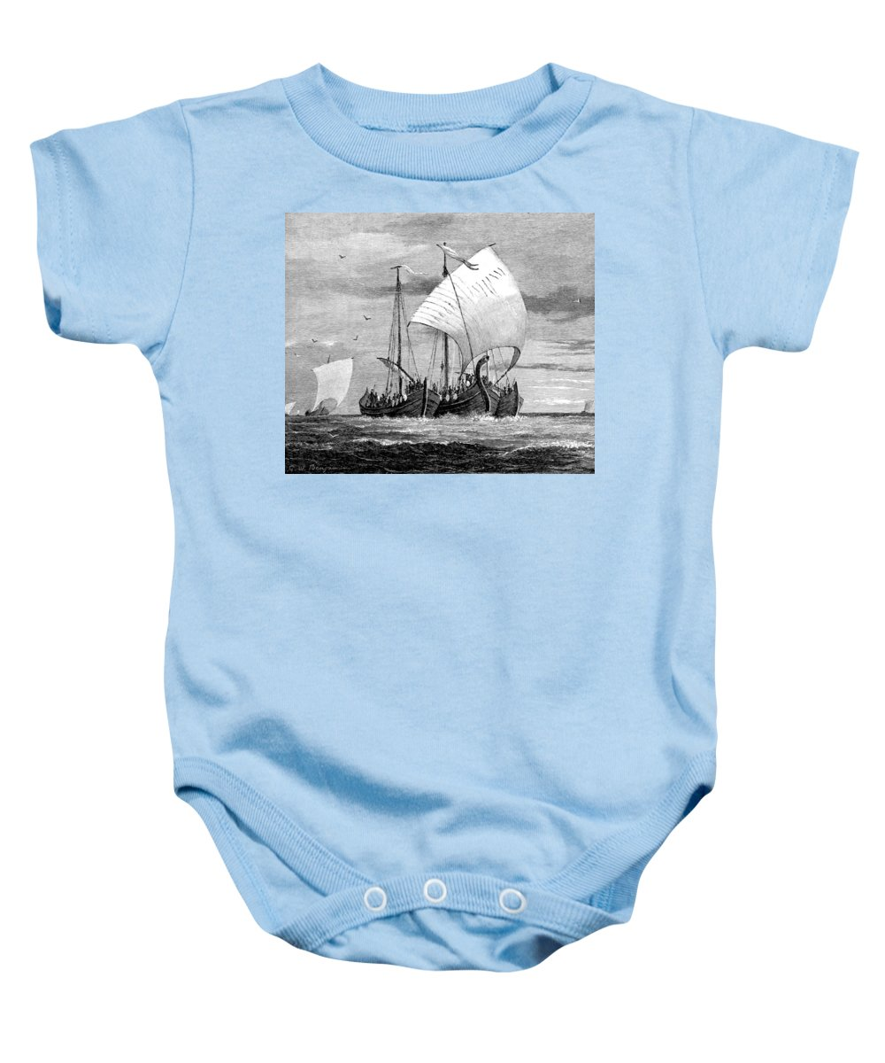 Navigation Baby Onesie featuring the photograph Vikings Cross The North Sea by British Library