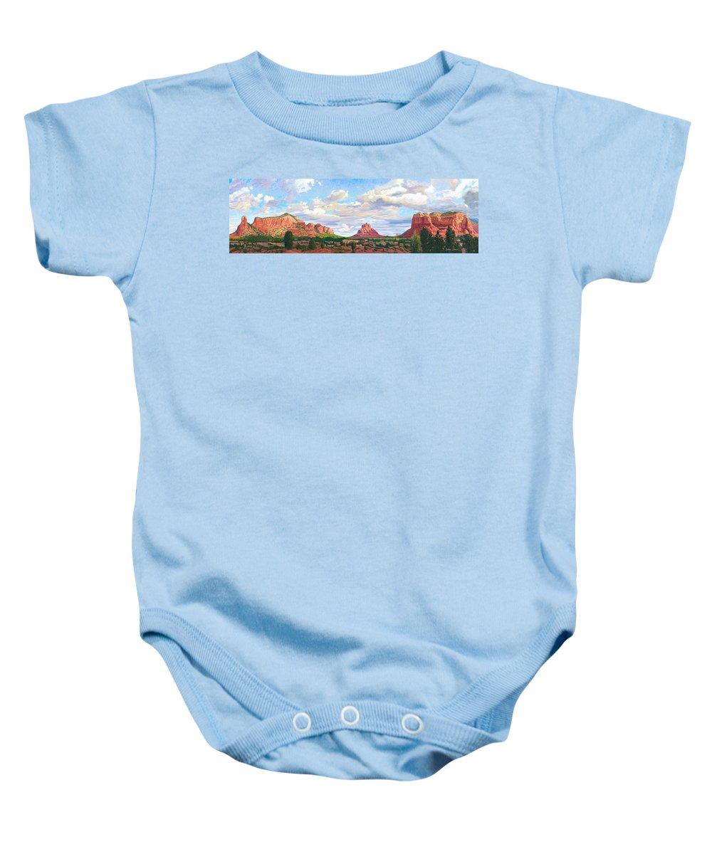 Skyline Baby Onesie featuring the painting Village Of Oak Creek - Sedona by Steve Simon