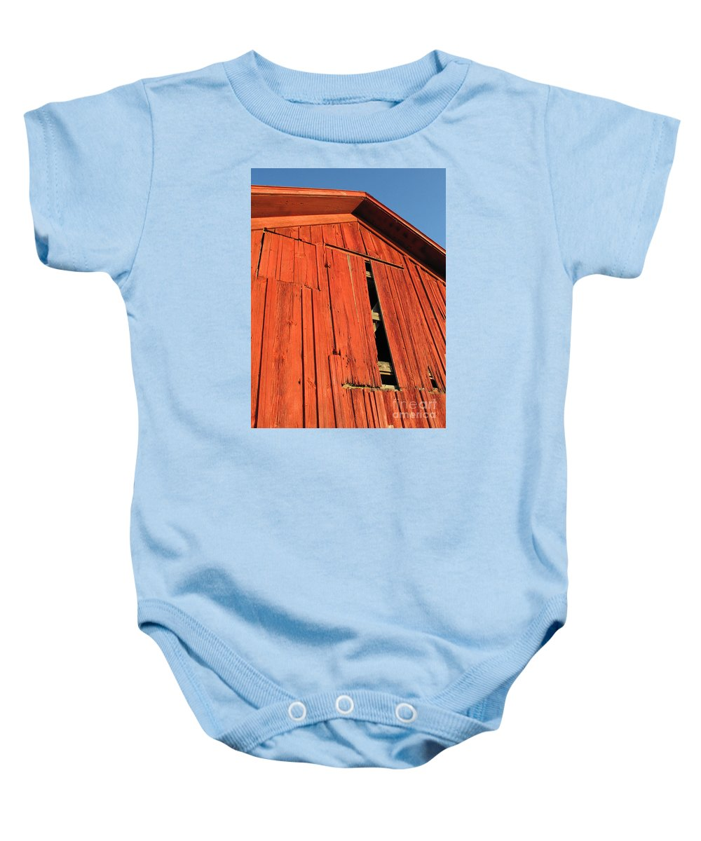 Barn Baby Onesie featuring the photograph Vintage Barn Aglow by Ann Horn