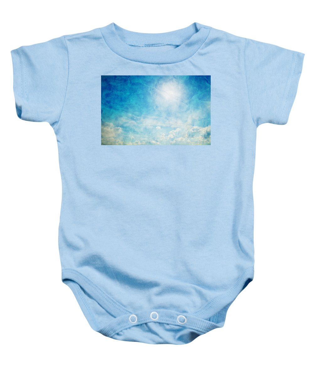 Sky Baby Onesie featuring the photograph Vintage Image Of Sunny Blue Sky by Michal Bednarek