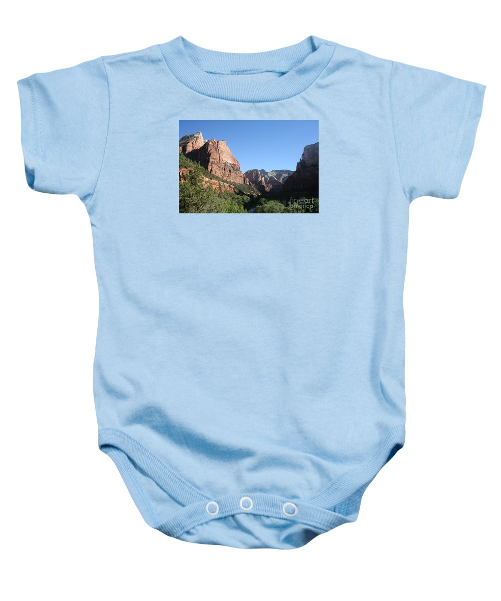 Mountians Baby Onesie featuring the photograph Virgin River View by Christiane Schulze Art And Photography