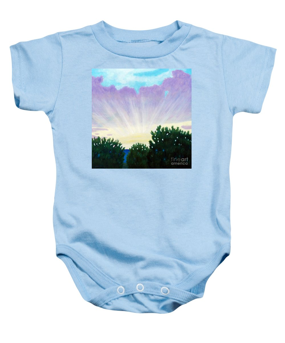 Skyscape Baby Onesie featuring the painting Visionary Sky by Brian Commerford