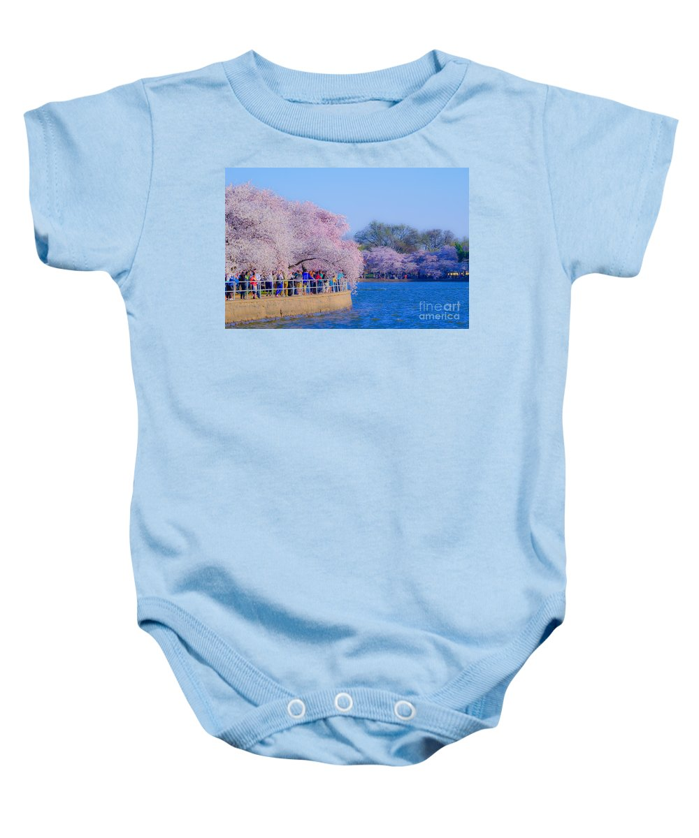 2012 Centennial Celebration Baby Onesie featuring the photograph Visitors To The Blooms On The Basin by Jeff at JSJ Photography