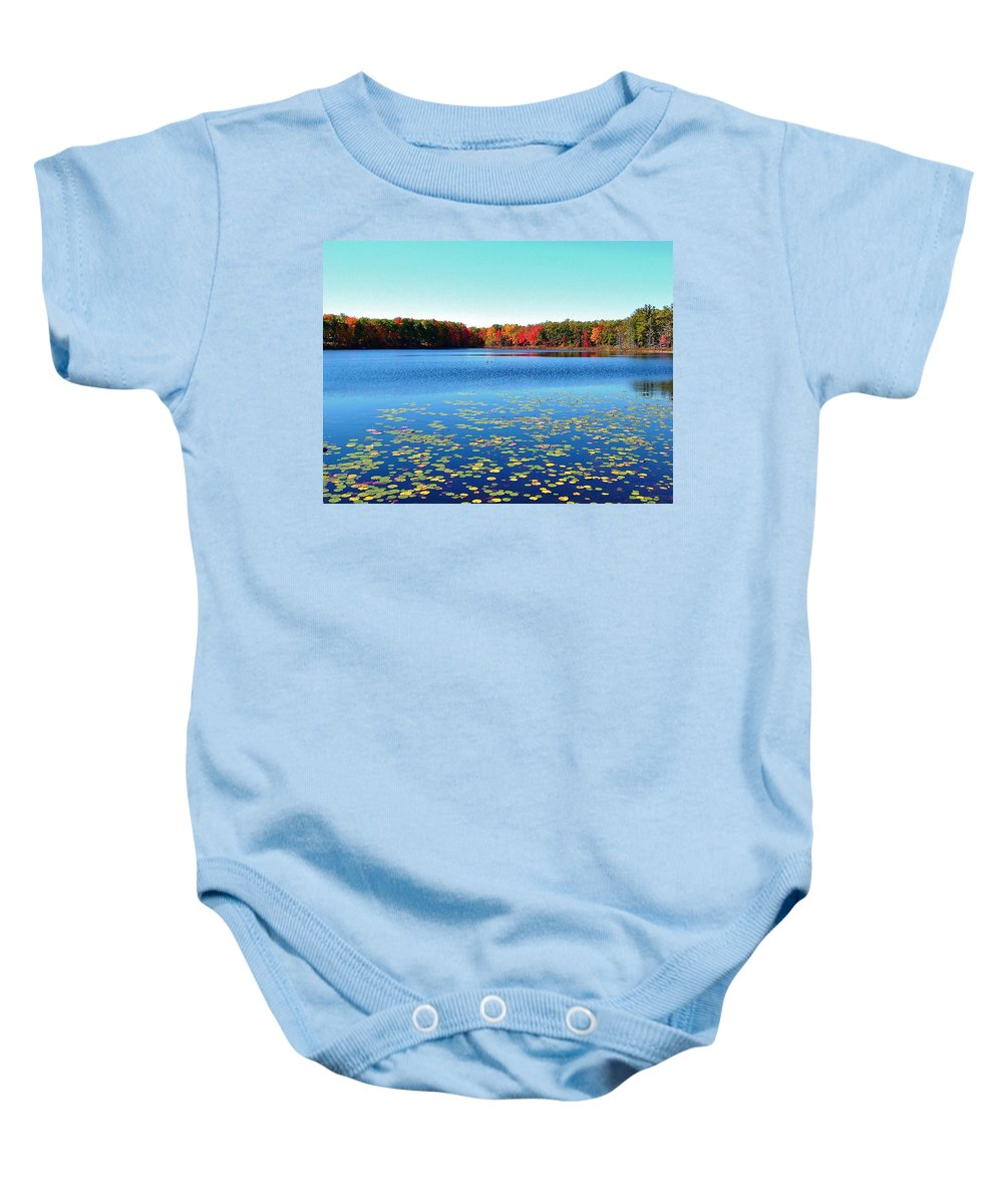 Small Lake Baby Onesie featuring the photograph Vivid Fall Colors by Susan Wyman